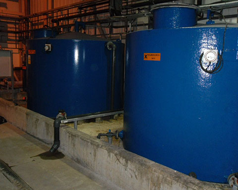 Chemical Bunded tanks before being repaired and relined