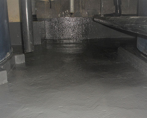 Chemical Concrete bunded tank after new coating has been applied